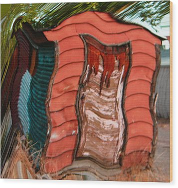 Red Shed Wood Print by Lenore Senior