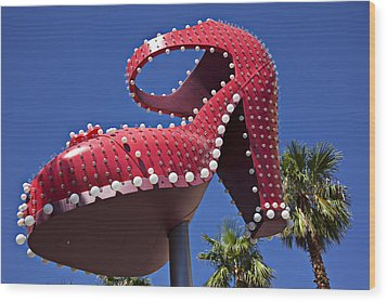 Red Shoe High Heels Wood Print by Garry Gay