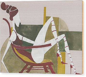 Wood Print featuring the painting Red Shoes by Maya Manolova