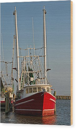 Red Shrimp Boat Wood Print by Christopher Holmes