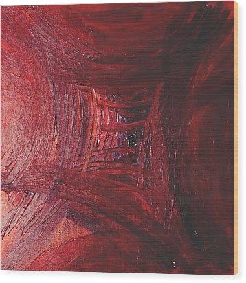 Red Skewed Squares Wood Print by Melissa Moore