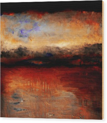 Red Skies At Night Wood Print by Michelle Calkins