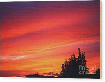 Wood Print featuring the photograph Red Skies At Night  by Nick Gustafson