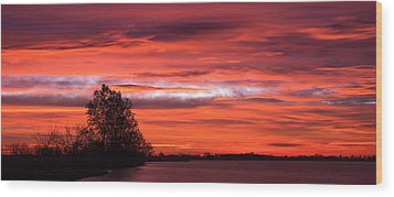 Red Sky At Morning Pano Wood Print by James Barber
