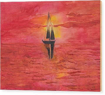 Red Sky At Night Sailors Delight Watercolor Wood Print