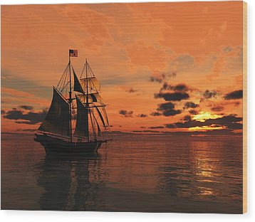 Red Sky At Night Wood Print by Timothy McPherson