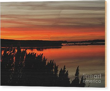 Red Sky On The Illinois River Wood Print