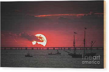 Red Sky Wood Print by Scott and Dixie Wiley