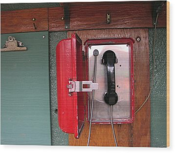 Red Sox Dugout Phone Wood Print