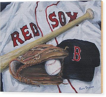 Red Sox Number Six Wood Print by Jack Skinner