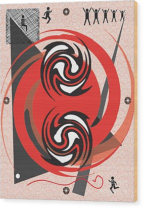 Red Spirals Wood Print