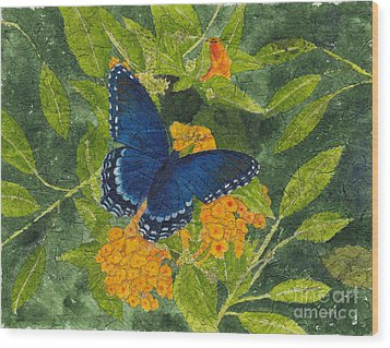 Red Spotted Purple Butterfly Batik Wood Print