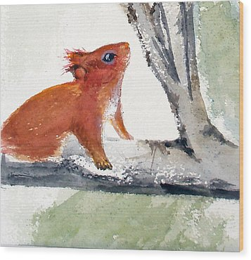 Wood Print featuring the painting Red Squirrel by Sibby S