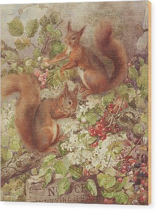 Red Squirrels Gathering Fruits And Nuts Wood Print by Rosa Jameson
