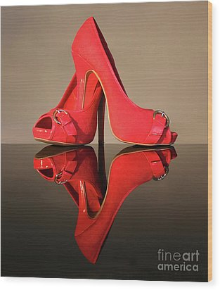 Wood Print featuring the photograph Red Stiletto Shoes by Terri Waters