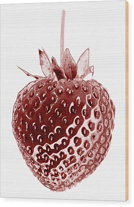 Red Strawberry Botanical Illustration Wood Print by Frank Tschakert