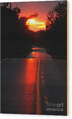 Wood Print featuring the photograph Red Street by Lila Fisher-Wenzel