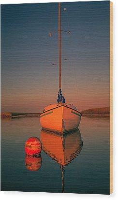 Red Sunrise Reflections On Sailboat Wood Print by Dapixara Art
