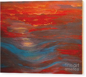 Red Sunset Abstract  Wood Print by Nancy Rucker