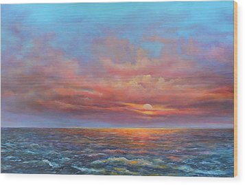 Red Sunset At Sea Wood Print