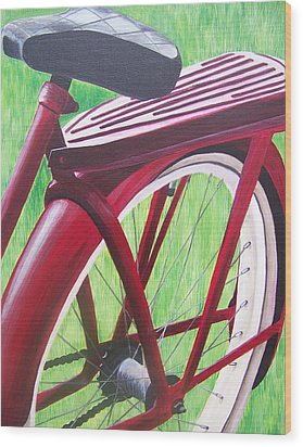 Red Super Cruiser Bicycle Wood Print by Charlene Cloutier