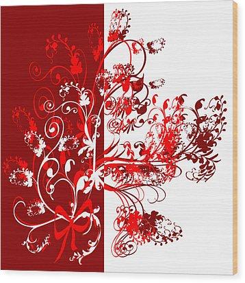 Red Swirl Wood Print by Svetlana Sewell