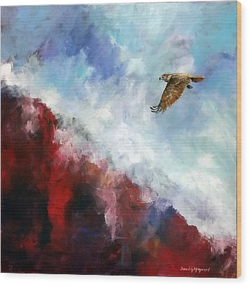 Wood Print featuring the painting Red Tail by David  Maynard