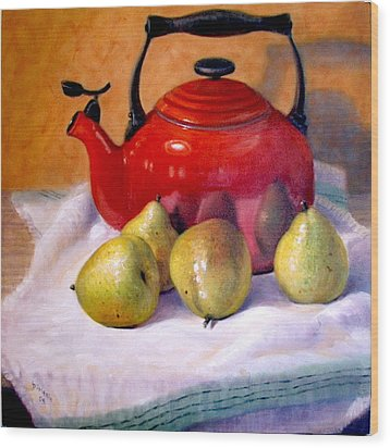Wood Print featuring the painting Red Teapot And Pears by Donelli  DiMaria