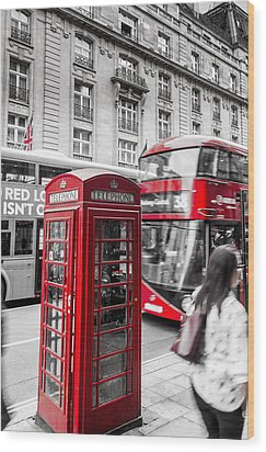 Red Telephone Box With Red Bus In London Wood Print