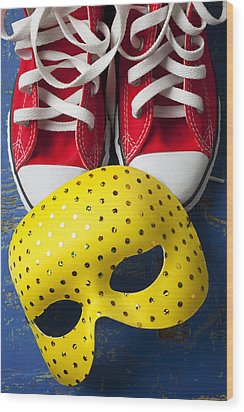 Red Tennis Shoes And Mask Wood Print by Garry Gay