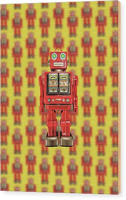 Red Tin Toy Robot Pattern Wood Print by YoPedro