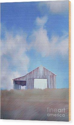 Red Tobacco Barn  Wood Print by Stephanie Frey