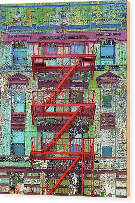 Wood Print featuring the mixed media Red by Tony Rubino