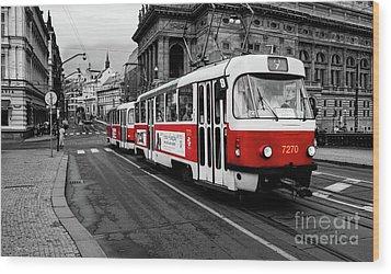 Red Tram Wood Print