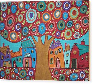 Red Tree Wood Print by Karla Gerard
