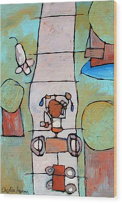Red Trike Wood Print by Charlie Spear