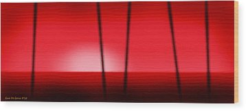 Red Tropical Abstract Sunset Wood Print by Gina De Gorna