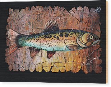 Red Trout Fresco Wood Print