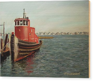Red Tugboat Wood Print by Joan Swanson