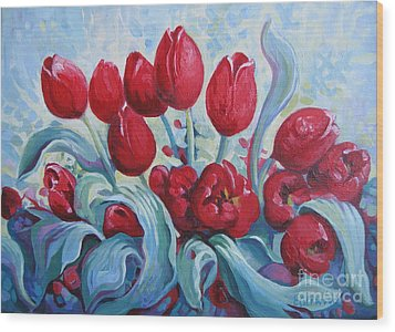 Wood Print featuring the painting Red Tulips by Elena Oleniuc