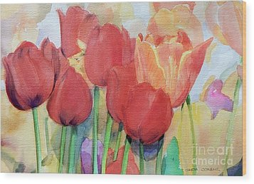 Red Tulips In Spring Wood Print