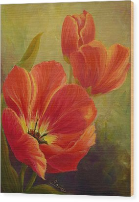 Red Tulips Wood Print by Irene Hurdle