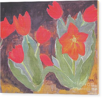 Wood Print featuring the painting Red Tulips by Sandy McIntire