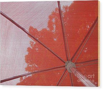 Red Umbrella Wood Print by Kristine Nora
