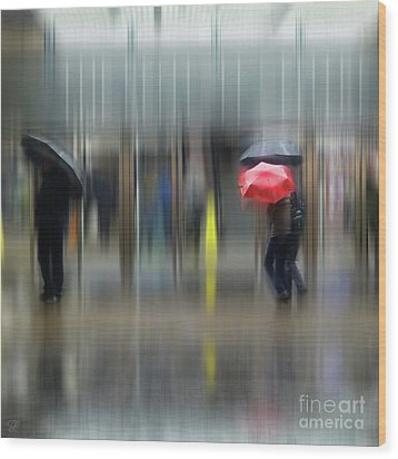 Wood Print featuring the photograph Red Umbrella by LemonArt Photography