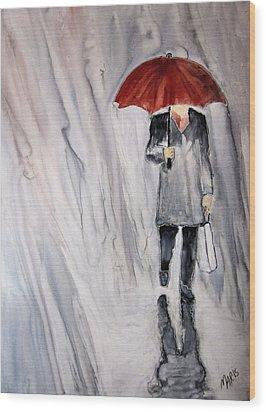 Red Umbrella Wood Print by Maris Sherwood