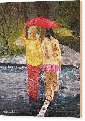 Red Umbrella Wood Print by Michael Lee
