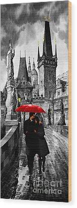 Red Umbrella Wood Print by Yuriy  Shevchuk
