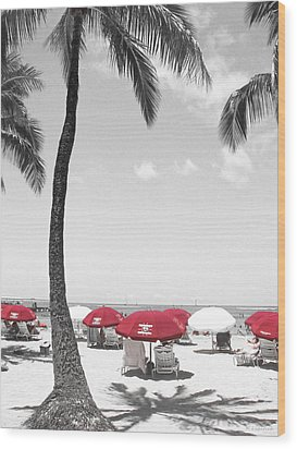 Red Umbrellas On Waikiki Beach Hawaii Wood Print by Kerri Ligatich