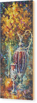 Red Vase Wood Print by Leonid Afremov